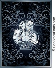 Poker clubs diamond card, vector illustration