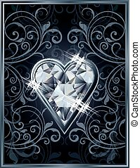 Poker hearts diamond card, vector illustration