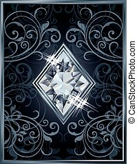 Poker diamonds brilliant card, vector illustration