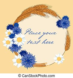 blue flowers and wreath of spike - vector illustration