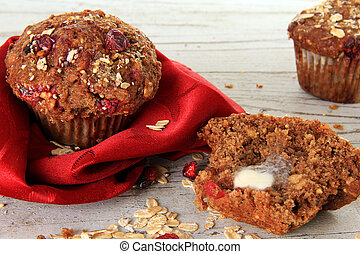 Cranberry bran muffin, also available in vertical.