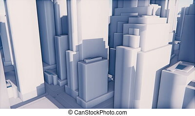 Abstract white 3D city