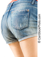 sexy female butt in jeans shorts - Closeup photo of sexy...