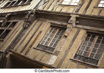 Half timbered houses in Dinan, Britanny, France