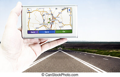 GPS screen - GPS VEHICLE NAVIGATION SYSTEM IN A MAN HAND