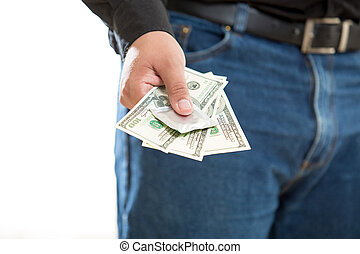 photo of young man paying for prostitute service -...