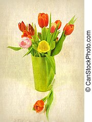 tulip bouquet - a coloured bouquet from tulips in a vase