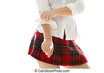 photo of sexy schoolgirl adjusting shirt sleeve - Closeup...