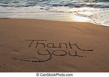 Thank you beach - Thank you written in the sand on the...
