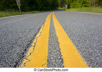 Center of the Country Road - Yellow stripes mark the center...