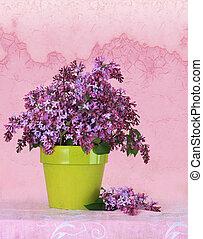 Lilacs - Lilac flower arrangement on a vintage background.