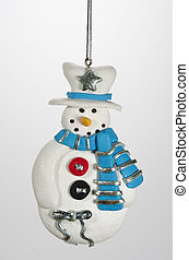 Christms Ornamen Snowmany with Top Hat and Scarf - A clay...