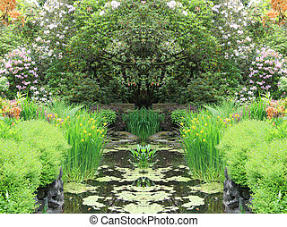 Garden pond - Beautiful garden pond in spring