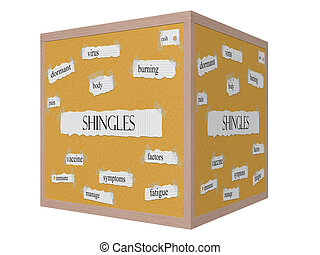 Shingles 3D cube Corkboard Word Concept with great terms...