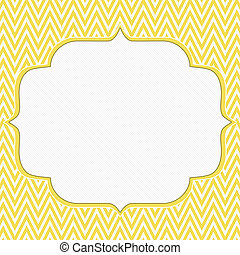 Yellow and White Chevron Zigzag Frame Background with center...