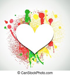 Paper heart on paint splattered background. Valentine...