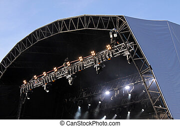 Music festival stage with spot lights - Canopy over a music...