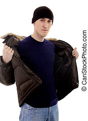 Man with warm clothing - male caucasian person with warm...
