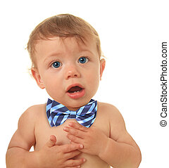 Talking baby - Adorable ten month old baby boy wearing a bow...