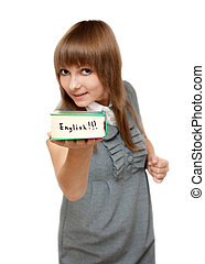 Young girl with dictionary english on white background