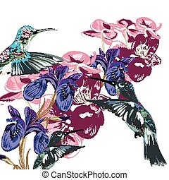 Flower pattern with hummingbirds, o - Fashion flower pattern...