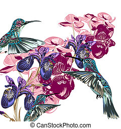 Flower pattern with hummingbirds, orchids and irises -...