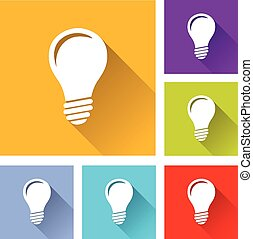 lightbulb icons - illustration of flat design set icons for...