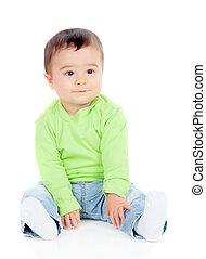 美麗, 嬰孩, 坐, 地板