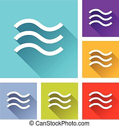 flood icons - illustration of flat design set icons for...