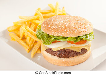 Fresh homemade Beef tomato cheese onion burger isolated