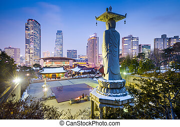 Gangnam Seoul - Bongeunsa Temple in the Gangnam District of...