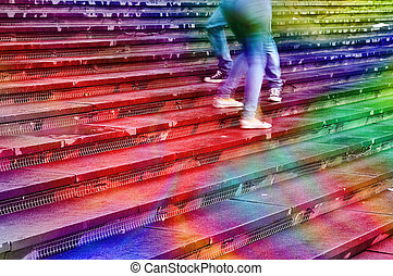 Rainbow dance - Softly textured image in rainbow colors of...
