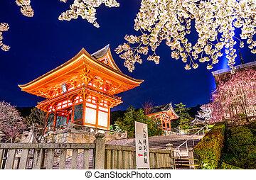 primavera, noche, templo,  Kyoto