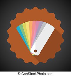 Design Color Guide Fan Flat Vector Icon with long shadow