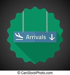 Travel Airport Arrivals Flat icon vector background