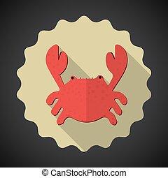 Summer Travel Sea Crab flat vector icon