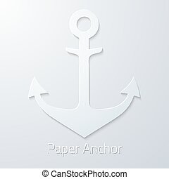 Antique travel paper anchor flat vector icon