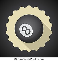 Eight 8 Ball Flat icon vector background - Illustration of...