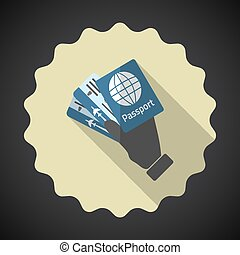 Travel Airport Tickets and Passport in Hand Flat icon vector bac