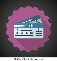 Travel Airplane Tickets Flat icon vector background