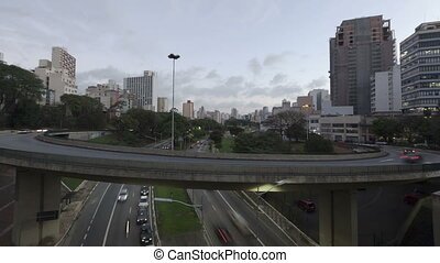 Time lapse Traffic Sao Paulo - Time lapse Traffic on Avenue...