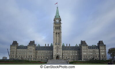 Time lapse Parliament Hill building closeup in Ottawa,...