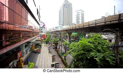 THAILAND 3 august 2015 Sky train in Bangkok with business...