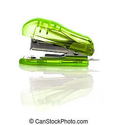 Green Stapler on a White Background