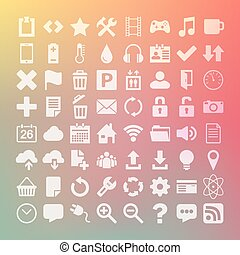 64 Universal Flat Vector Icon Set for web desighers, ui,...