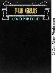 """Pub Grub - Chalkboard with """"Pub Grub"""" Hand Drawn in Chalk..."""