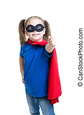 kid girl weared superhero costume isolated on white