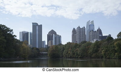Time lapse close up Atlanta skyline - Time lapse close up...