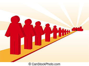 Recruitment - Abstract illustration of red worker men being...