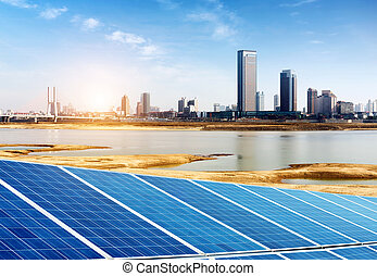 Solar Panel - Urban background solar panels, Shanghai,...